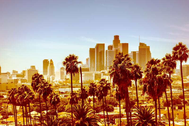 Aerial view of Downtown Los Angeles royalty free stock photography
