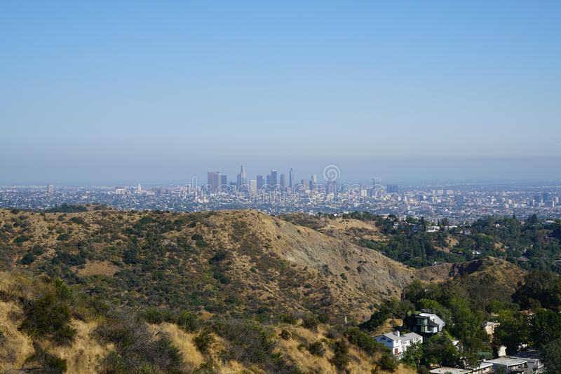 Downtown Los Angeles from Hollywood Hills stock photo