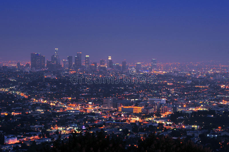 Downtown los angeles at night. A view of downtown los angeles from Griffith observatory stock image