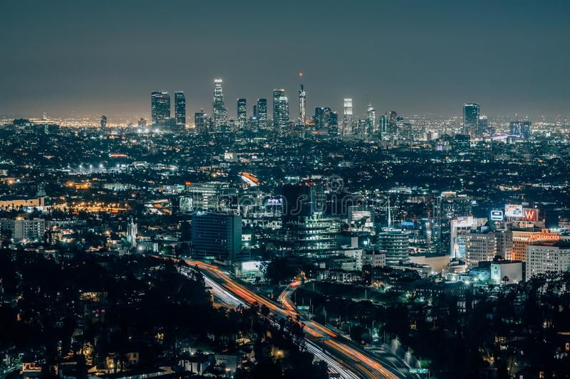 Downtown Los Angeles at night. Aerial view of downtown Los Angeles at night, California, US stock images