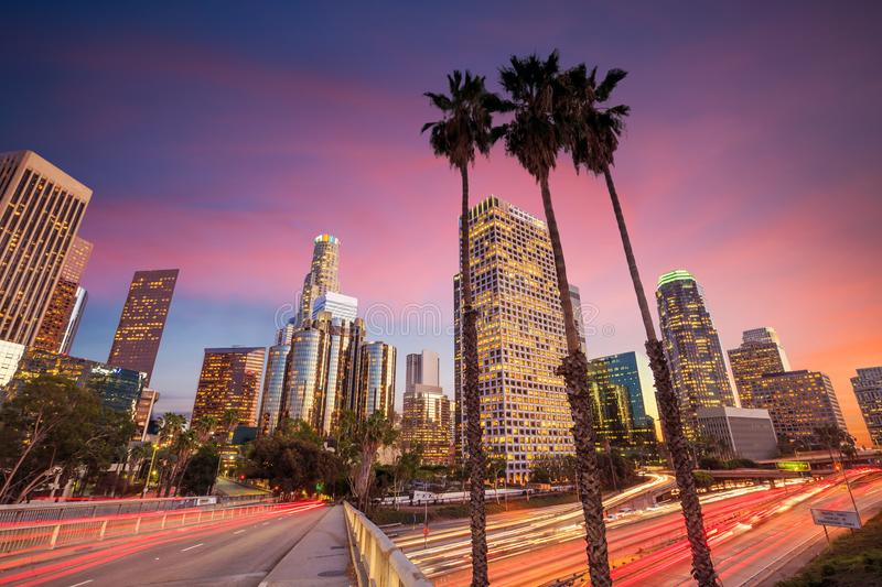 Downtown Los Angeles skyline. During rush hour at sunset royalty free stock photos