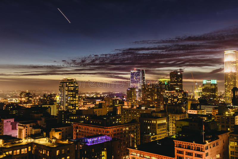 Downtown Los Angeles skyline at night. stock photo