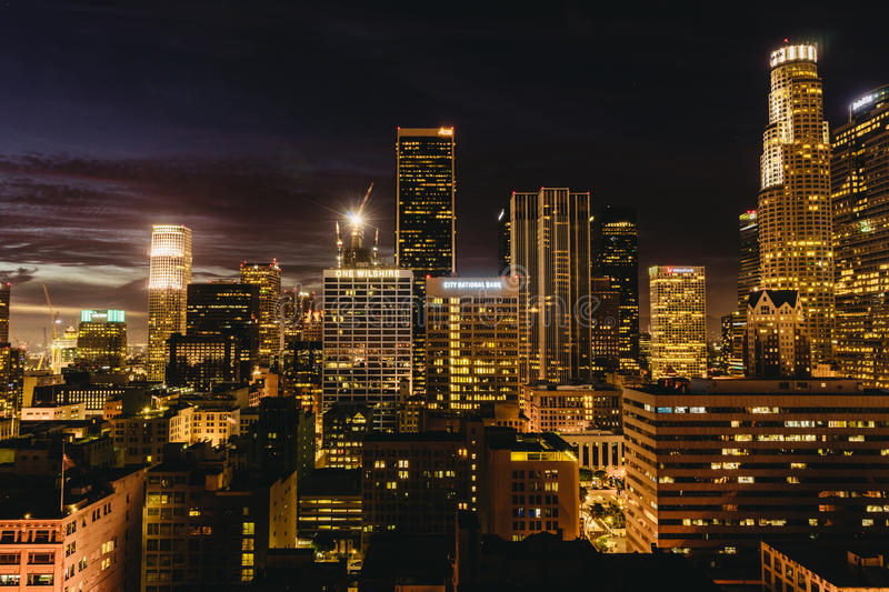 Downtown Los Angeles skyline at night. royalty free stock photography
