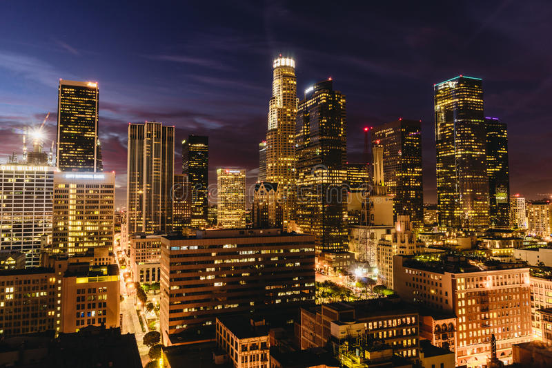 Downtown Los Angeles skyline at night. stock photography