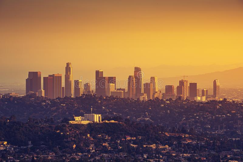 Downtown Los Angeles skyline at sunset. Downtown Los Angeles skyscrapers at sunset stock image