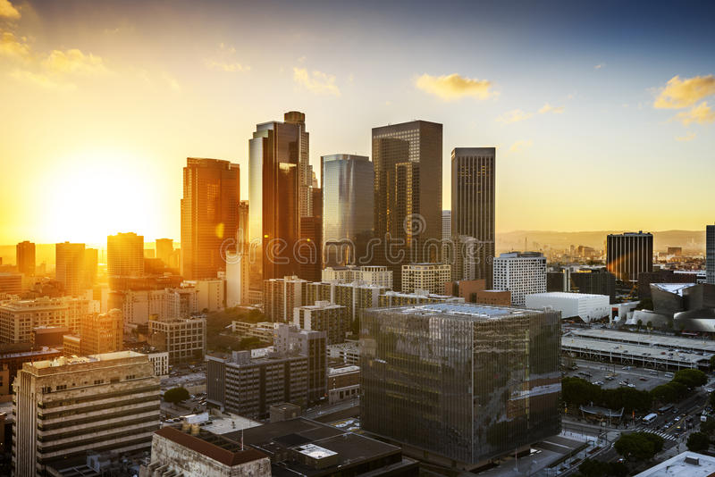 Downtown Los Angeles. Downtown Skyline at Sunset. Los Angeles, California, USA stock photo