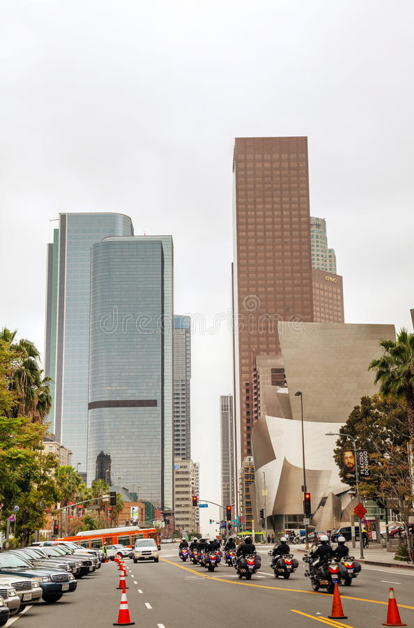Downtown Los Angeles with the Walt Disney concert hall royalty free stock photos