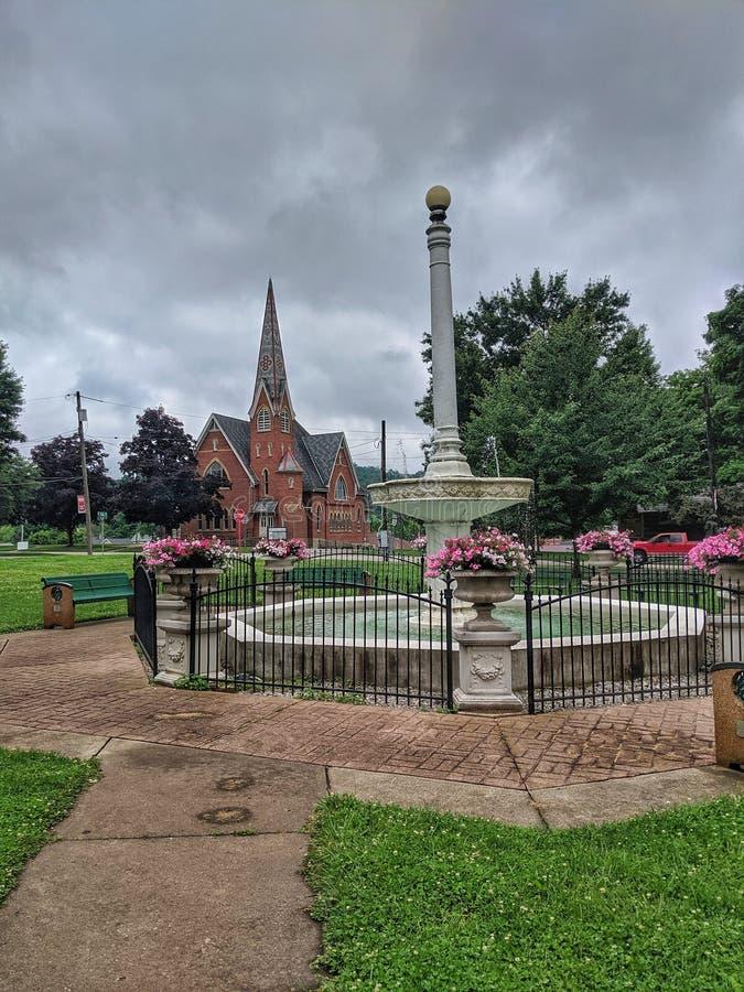 Downtown Loudonville Ohio Memorial Fountain royalty free stock photos