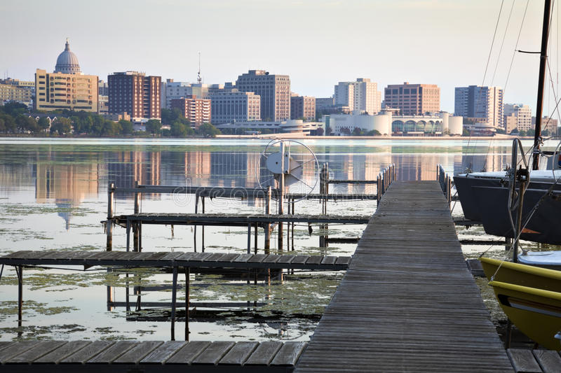 Downtown Madison seen acrross Lake Monona stock images