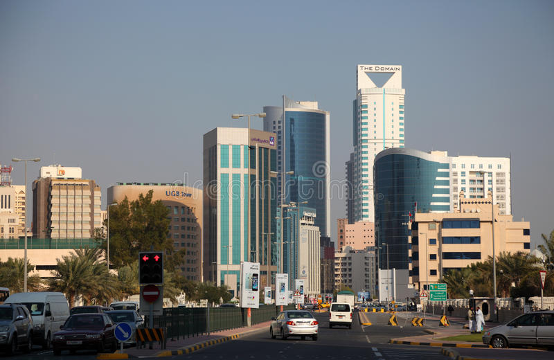 Downtown of Manama, Bahrain stock images