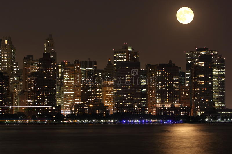 Downtown Manhattan. NYC in evening royalty free stock images