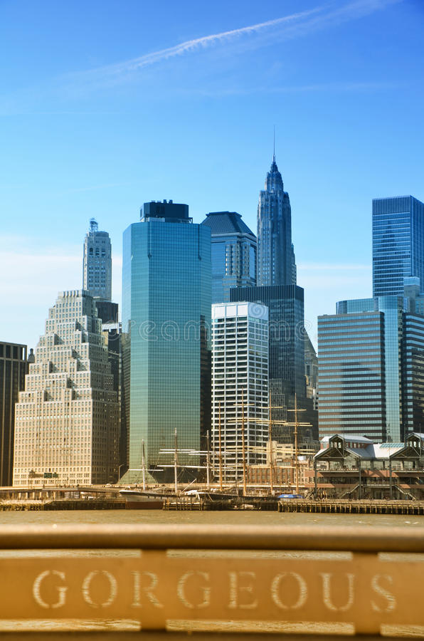 Downtown Manhattan. View of Pier 17 and Financial District in Downtown Manhattan, New York stock image