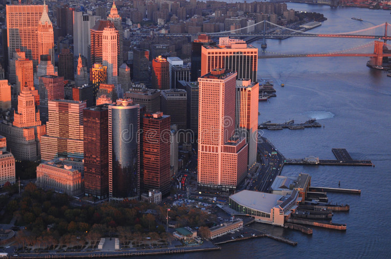Downtown Manhattan. A birdseye view of the Downtown Manhattan, New York with Brooklyn and Manhattan bridge in the background stock image