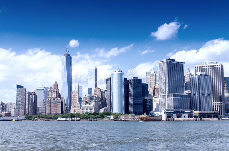 Downtown Manhattan and East River on a sunny day, New York stock photo