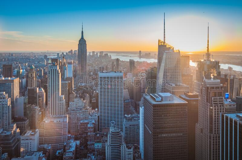 Downtown Manhattan in New York, United States. Sunset on downtown Manhattan neighborhood in New York City, United States of America stock images