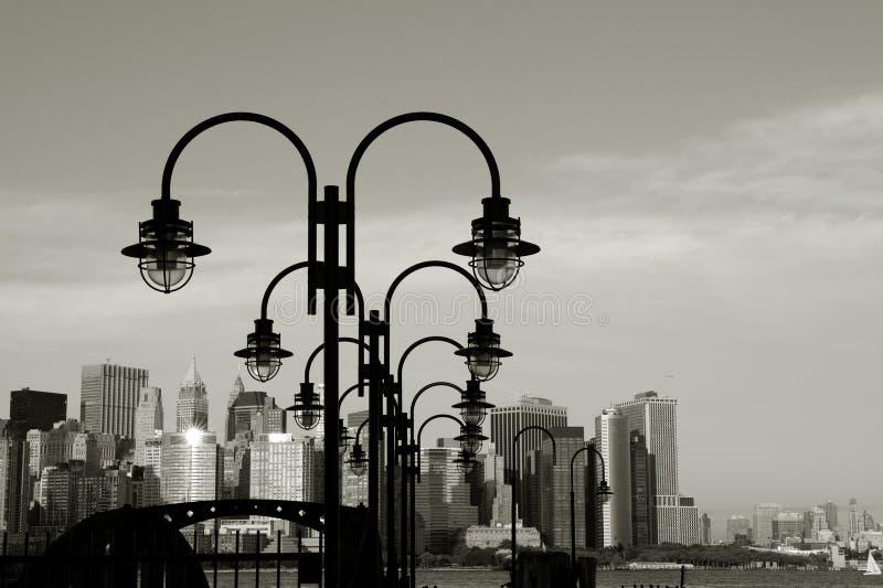 Downtown Manhattan skyline. Skyline of downtown Manhattan in black and white royalty free stock photo