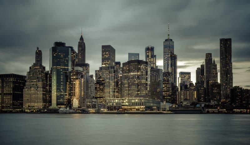 Downtown Manhattan Skyline from the Brooklyn Bridge Park stock image