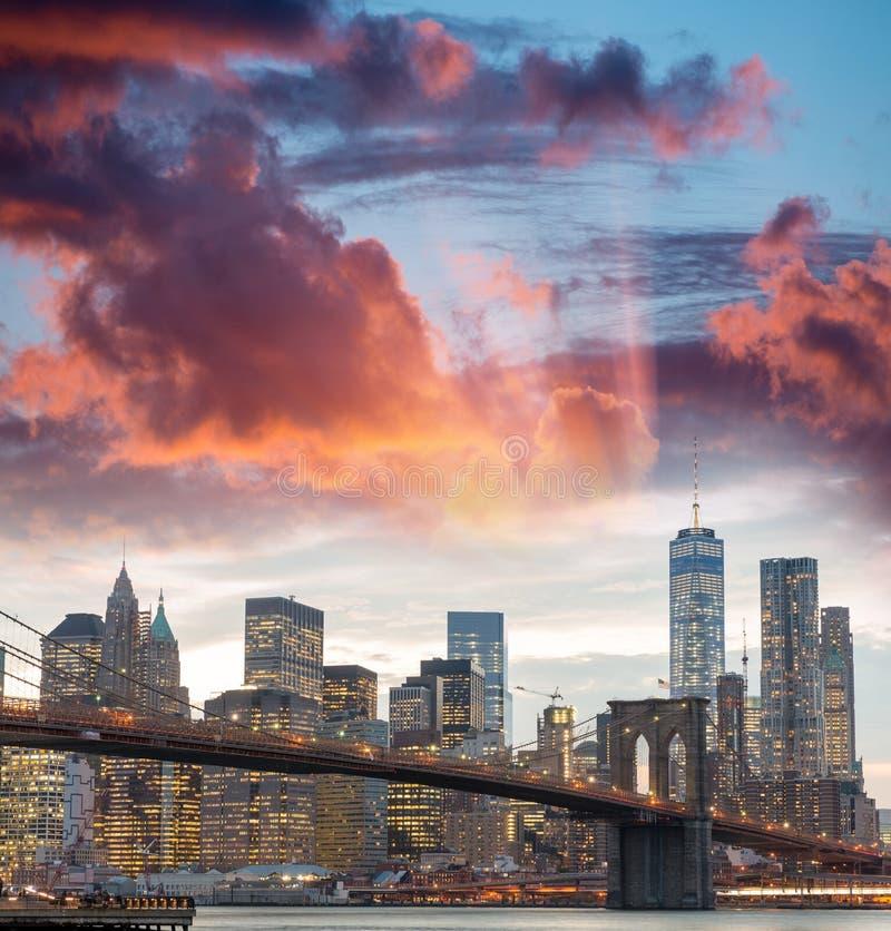 Downtown Manhattan skyline at dusk, New York City - NY - USA stock photos