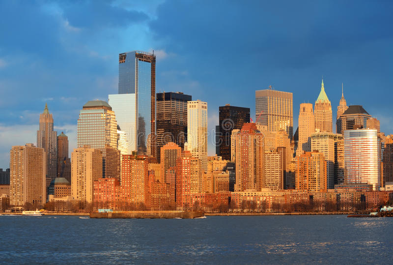 Downtown Manhattan skyline. At sunset over Hudson River in New York City royalty free stock images