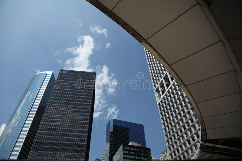 Downtown Manhattan. From Staten Island ferry terminal to view downtown Manhattan skycraper royalty free stock photos