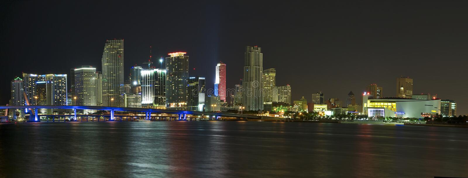 Downtown Miami. Panoramic view of downton Miami at night, with space for copy in the water stock photo