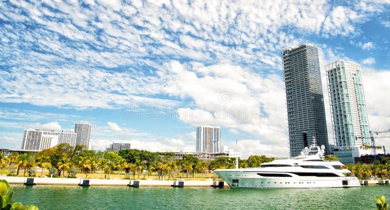 Miami, luxury yacht in dock stock photo