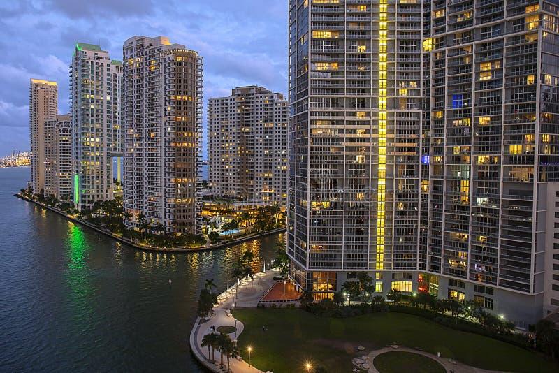 Downtown Miami And Brickell Key At Night royalty free stock photo