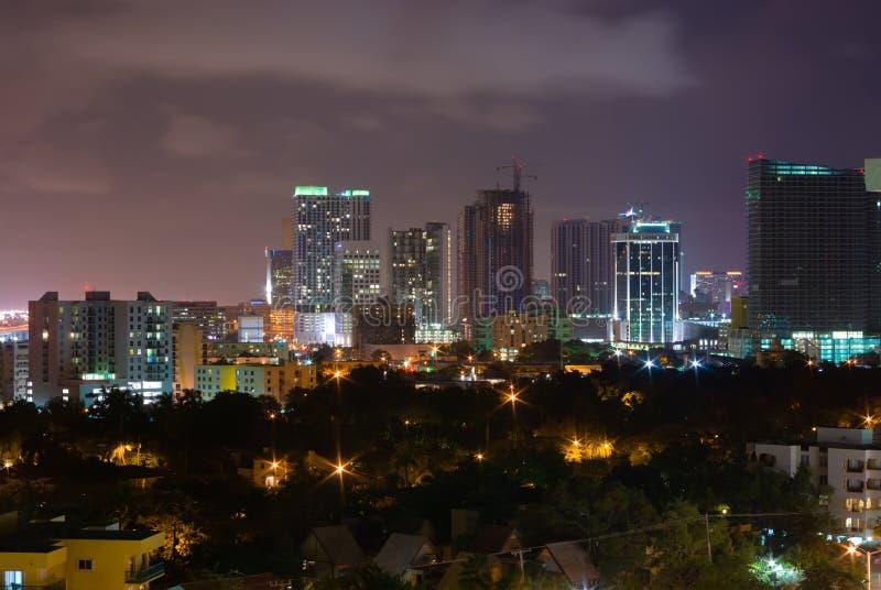 Downtown Miami city at night stock photo
