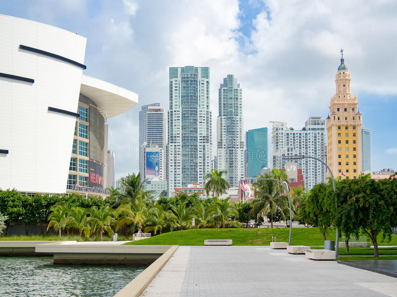 Downtown Miami including the Freedom Tower and the American Airlines Arena stock photos
