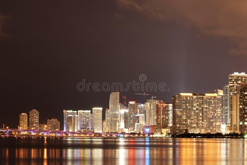 Downtown Miami At Night Royalty Free Stock Photos