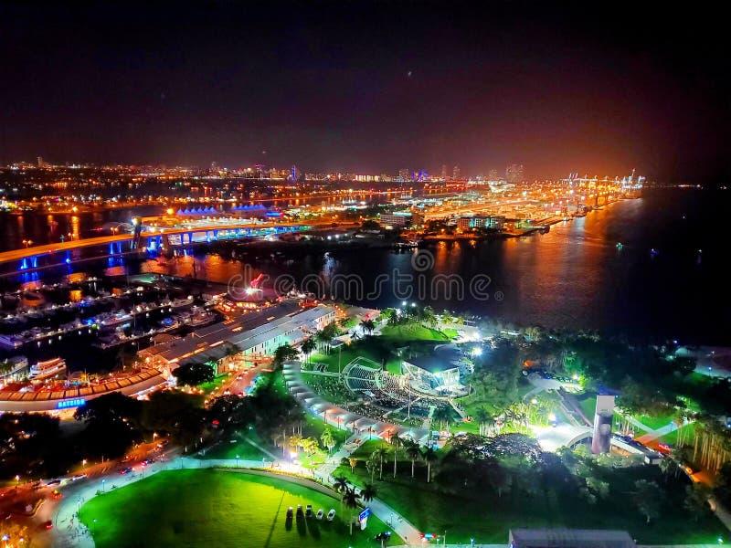 Downtown Miami Night Lights Biscayne stock photos