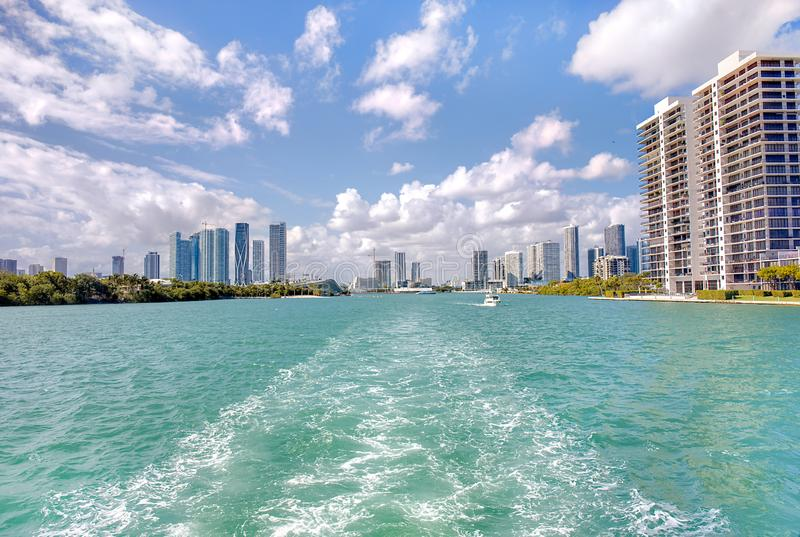 Biscayne Bay With Miami Skyline stock images
