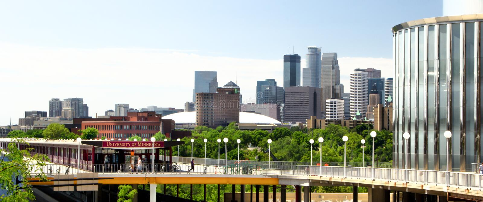 Downtown Minneapolis from the Campus of the University of Minnesota royalty free stock photography