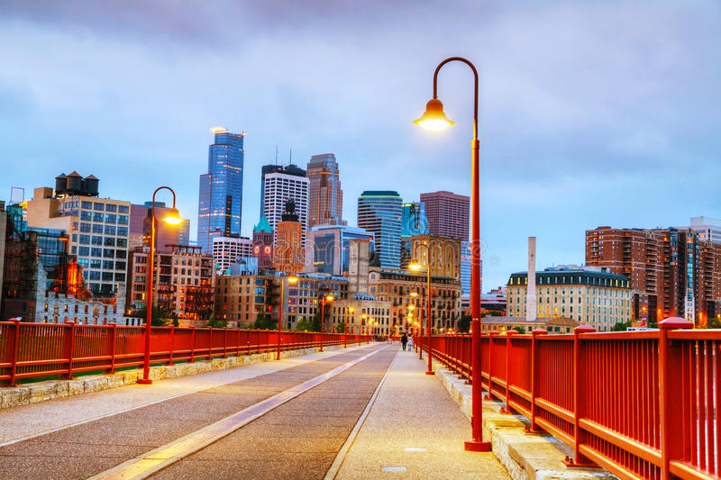 Downtown Minneapolis, Minnesota at night time stock photos