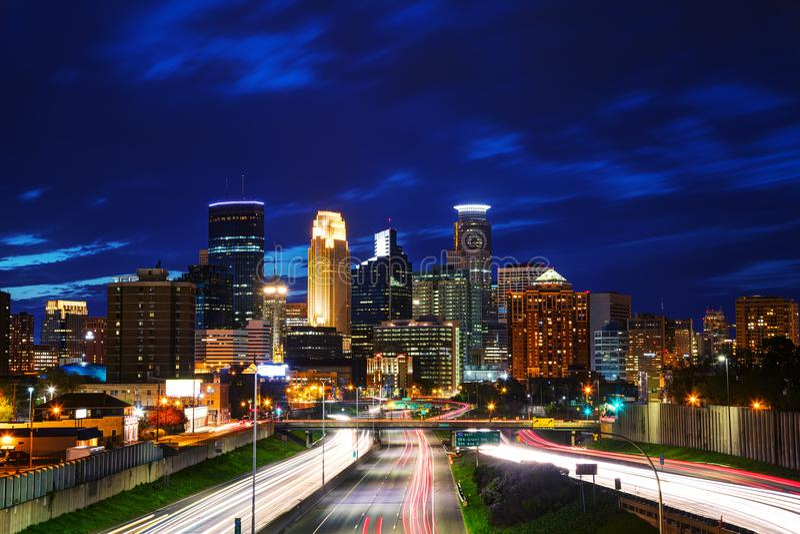 Downtown Minneapolis, Minnesota. At the night time royalty free stock photos