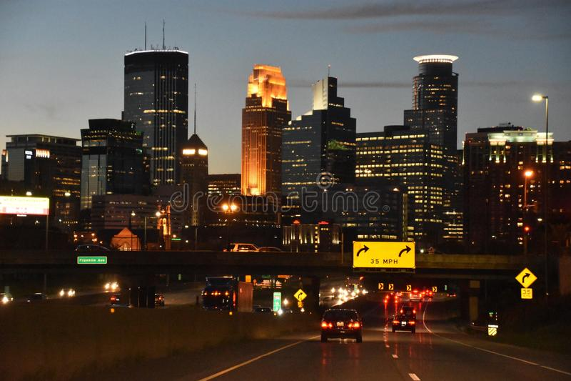Downtown Minneapolis in Minnesota stock images