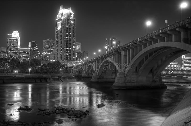 Downtown Minneapolis MN - Black and white royalty free stock image