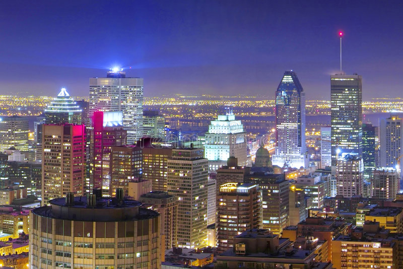 downtown montreal night στοκ εικόνες
