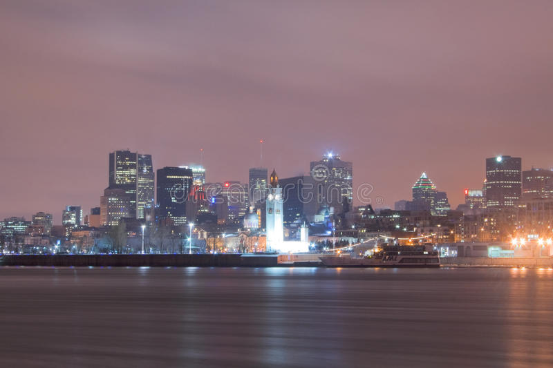 Downtown Montreal Skyline At Night Stock Image