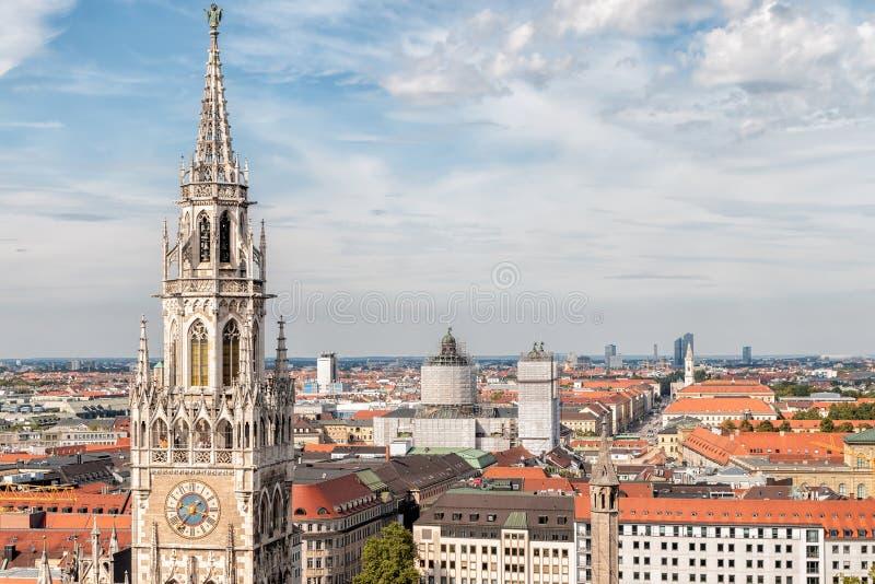 Downtown Munich Cityscape - Bavaria, Germany. Downtown Munich Cityscape from church tower in Marienplatz - Bavaria, Germany royalty free stock photos