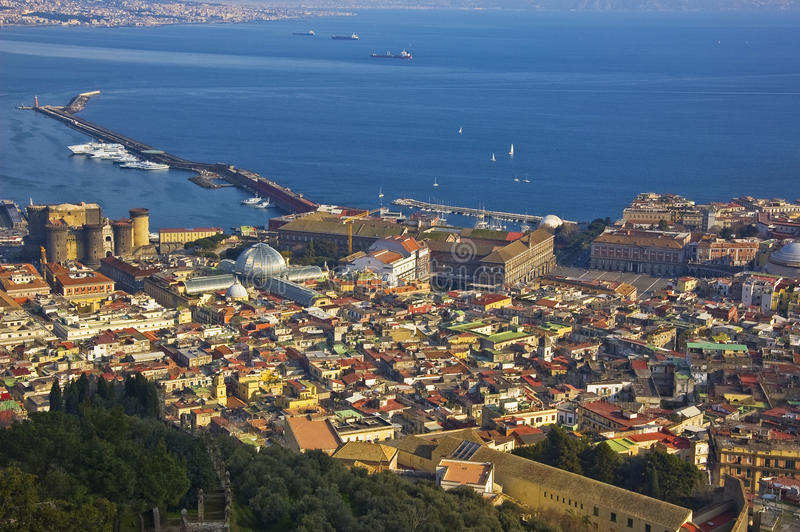 Downtown of Naples, Italy. Panoramic view of naples, italy stock photo