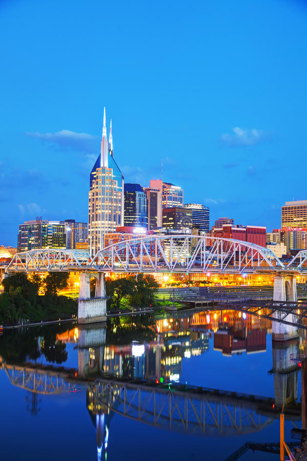 Downtown Nashville cityscape in the evening. Downtown Nashville, Tennessee cityscape in the evening royalty free stock photography