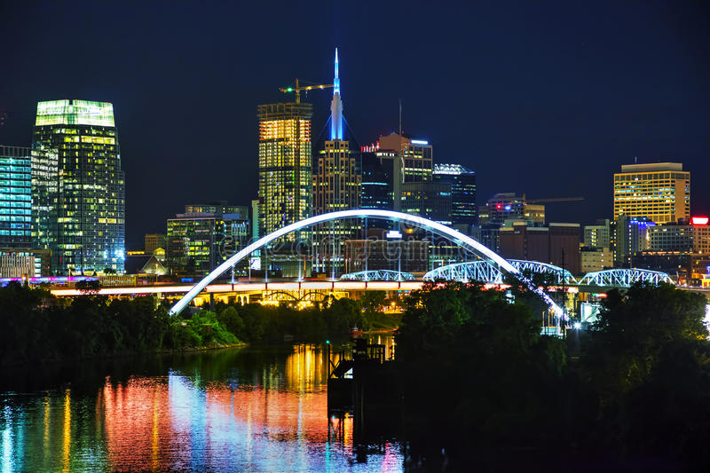 Downtown Nashville cityscape at night. Downtown Nashville, Tennessee cityscape at night royalty free stock photos