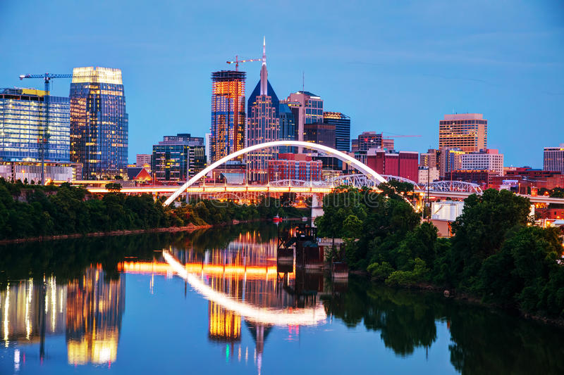 Downtown Nashville cityscape at night. Downtown Nashville, Tennessee cityscape at night stock photography