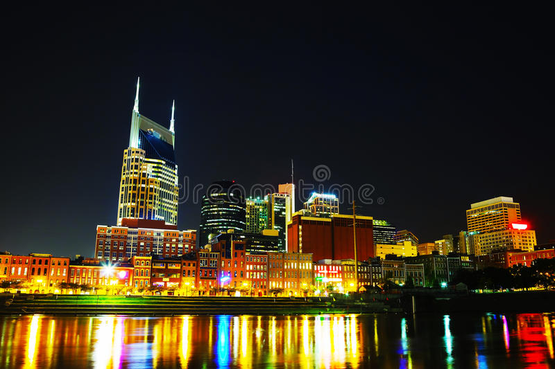 Downtown Nashville cityscape in the night. Downtown Nashville, TN cityscape in the night royalty free stock image