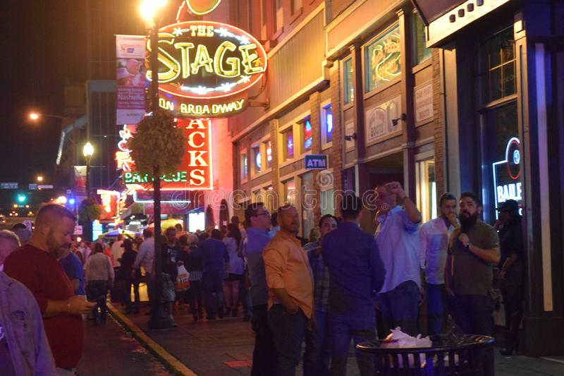 Downtown Nashville Tennessee with nightly crowds royalty free stock photos