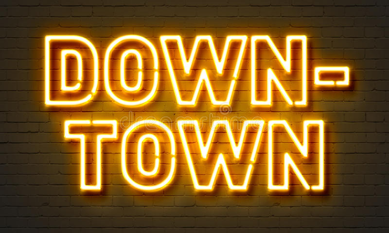 Downtown neon sign on brick wall background. royalty free illustration