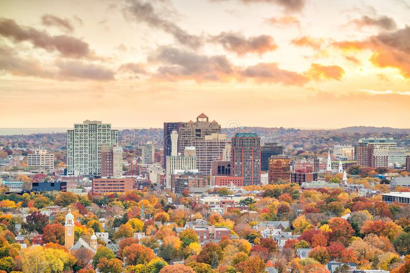 Downtown New Haven from East Rock Park royalty free stock image