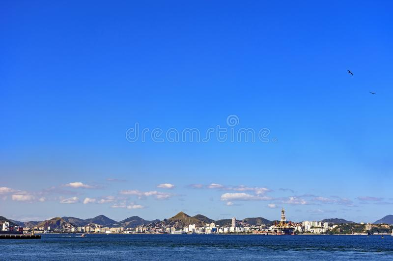 Downtown of Niteroi city. With its buildings and Guanabara bay seen from Rio de Janeiro stock photography