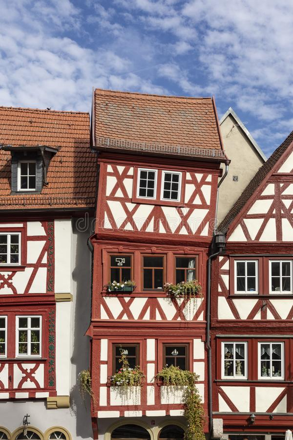 Downtown Ochsenfurt in Bavaria with half-timbered houses. Old half timbered houses in Ochsenfurt, Germany royalty free stock photos